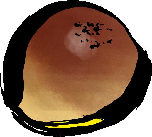 筆で描いたアンパンのイラスト