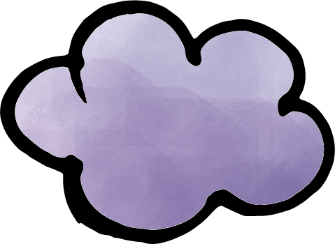 筆で書いた雲水彩風に色をつけたイラスト
