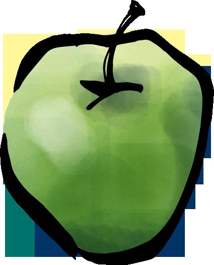 筆で描いた青りんごのイラスト