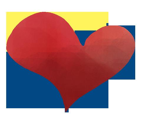 筆で書いた赤いheartのイラスト