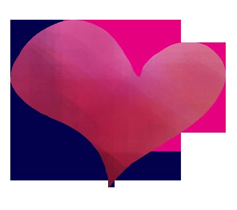 筆で書いたheartの水彩風のイラスト