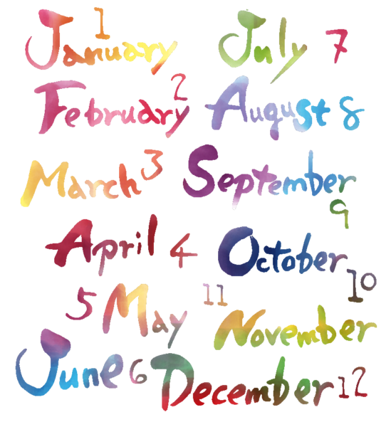 月名 英語 暦 number