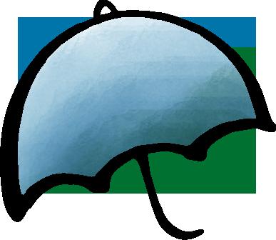 筆で書いた傘に水彩風に色をつけたイラスト