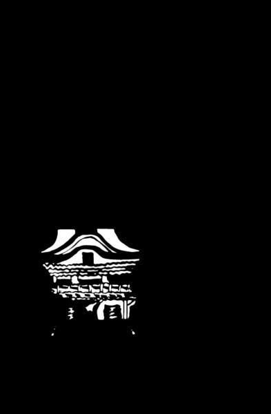 筆で書いた日光東照宮の文字と日光東照宮のイラスト