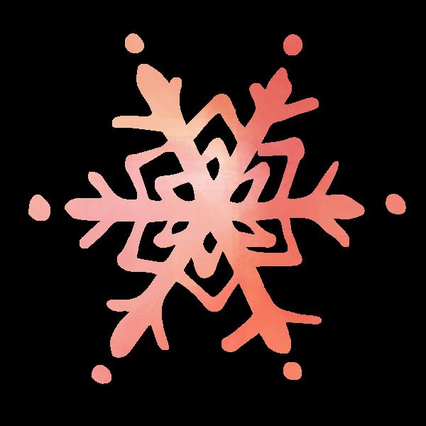 水彩風に描いた雪の結晶